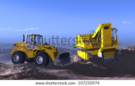 The group of construction machines in the landscape.