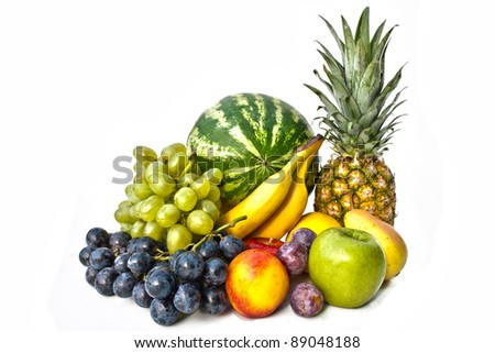 The group of fruits on white background
