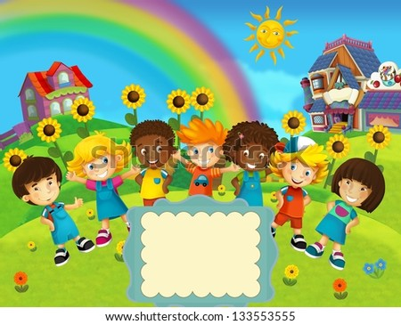 The group of happy preschool kids - colorful illustration for the children - stock photo