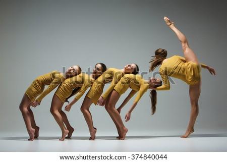 The group of modern ballet dancers  #374840044