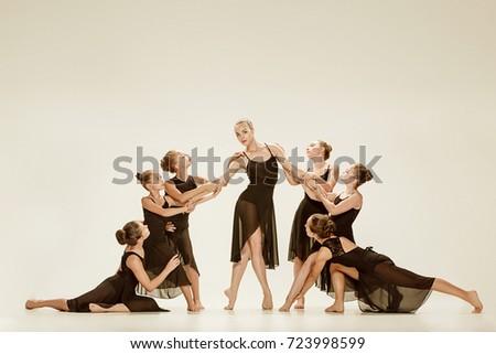 The group of modern ballet dancers #723998599