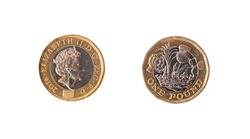 the group of One Pound Coin Isolated on White background.