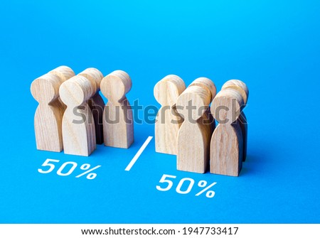 The group of people is divided equally by line. Visualization of statistical data. 50% of 100%. Dividing people into two groups on different issues. Polls test results. Equality in numbers Photo stock ©
