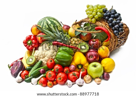 The group of vegetables and fruits in bascet on white background