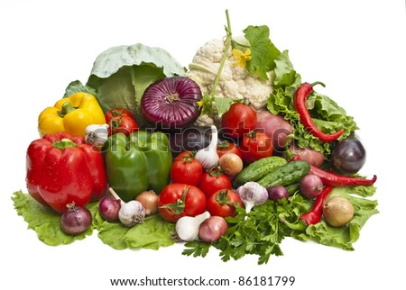 The group of vegetables on a white background