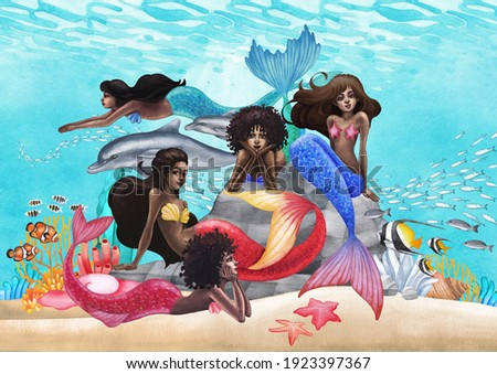 The group of watercolor african mermaids swimming with the dolphins and sitting on the stones. Hand painted ocean design