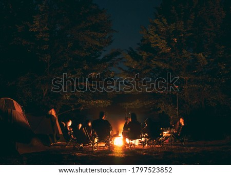 The group of young people are sitting around the bonfire and talking and singing songs Сток-фото ©