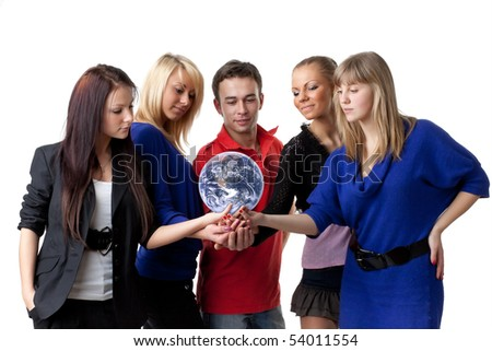 The group of young people holding the globe in hands on a white background.  Concept for environment conservation.