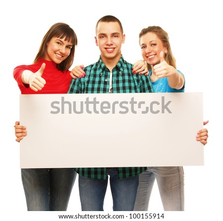The group of young people holds the empty board and showing ok, isolated on white background