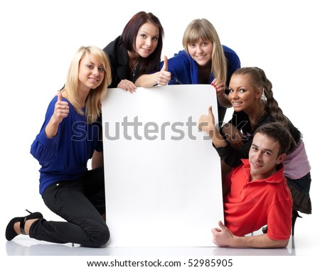 The group of young people holds the empty board for the text on a white background.