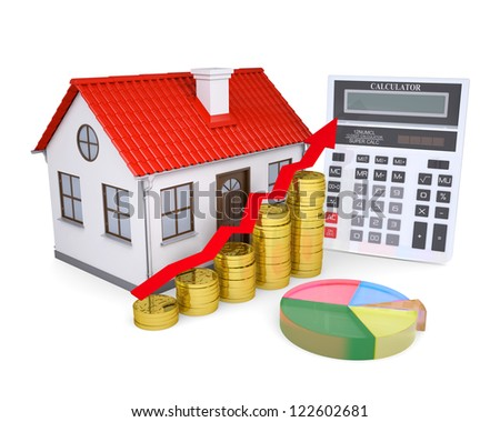 The growth in property prices. Isolated render on a white background