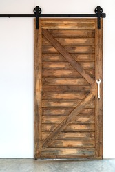 The grunge wood barn door.