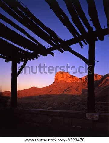 The Guadalupe Mountains of Texas photographed at sunrise from an abandoned highway rest area.