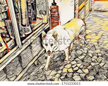 The guard dog makes its way through the store's corridors past the fire extinguisher and looks around in the style of painting with  Kandinsky Art Effect