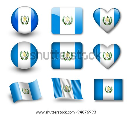 The Guatemala flag - set of icons and flags. glossy and matte on a white background.