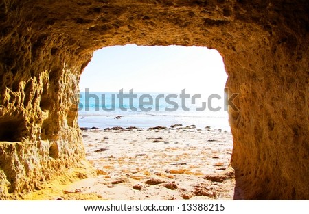 The Gulf St Vincent from a cliffside cave at Port Willunga, near Adelaide, Australia