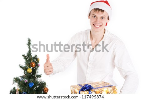 The guy holding a Christmas box
