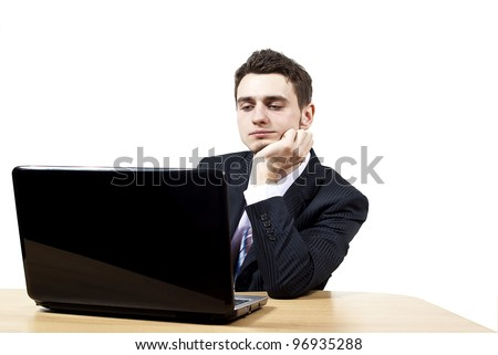 the guy sitting at a laptop on a white background