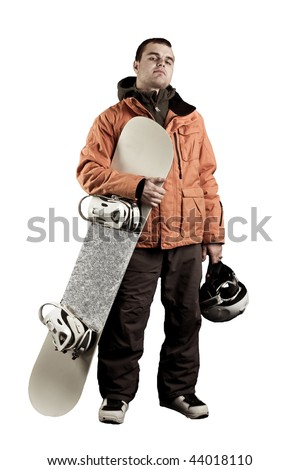 The guy with snowboard in the hands