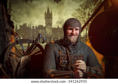 Stock Photo The guy with the beard medieval chainmail knight