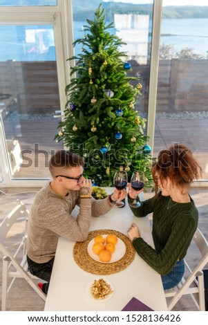 The guy with the girl celebrate the new year. Young couple celebrates christmas. #1528136426