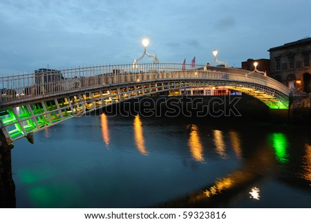 The Ha'Penny Bridge in Dublin, Ireland, so named because of a past toll of half a penny.