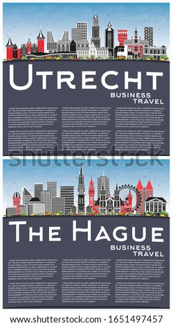 The Hague and Utrecht Netherlands City Skylines with Color Buildings, Blue Sky and Copy Space. Business Travel and Tourism Concept with Historic Architecture. Cityscapes with Landmarks.