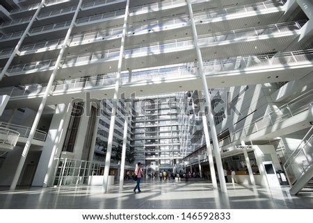 THE HAGUE - JULY 18: Interior of The Hague City Hall. Designed by R. Meier and build in 1995. 4,500 sq. meter atrium flanked by two 10- and 12-storey buildings. July 18, 2013 The Hague, Netherlands