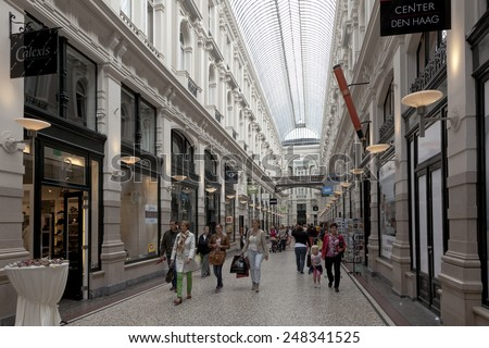 THE HAGUE,NETHERLANDS - AUGUST 16,The Passage Shopping Centre, a covered shopping street in the Hague, and the oldest shopping center in the Netherlands