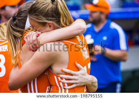 THE HAGUE, NETHERLANDS - JUNE 14 2014: Dutch team captain Maartje Paumen cant surpress her tears of joy after winning the world championships hockey 2014