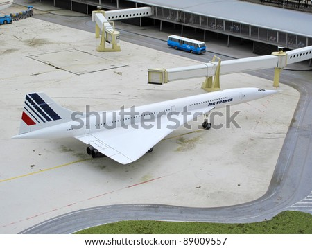 THE HAGUE, NETHERLANDS - SEPTEMBER 17: Airplane Concorde a supersonic passenger airliner with 144 seats, on display as a tourist attraction in Madurodam park on September 17, 2011 in The Hague, Netherlands.