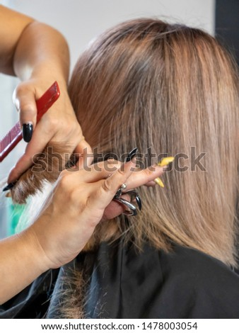 The hairdresser is cutting. Hair thinning. Thinning. Scissors and comb in the hands of the master. Hairstyle. Beauty saloon.