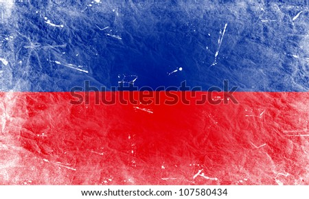 The Haitian flag painted in vintage style