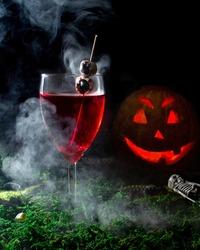 The halloween wine pumpkin mood