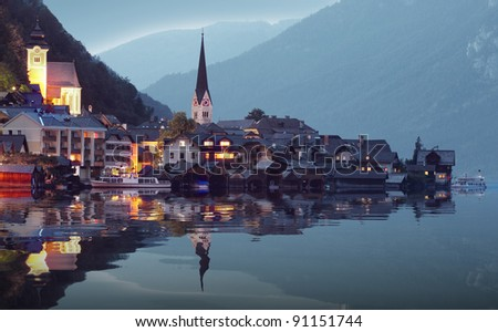 The Hallstatt city in night. Beautiful and mysterious place in Salzkammergut. Austria, Europe.