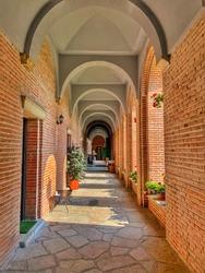 The hallway of a church