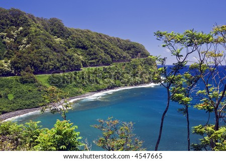 The Hana Highway clings to the coast as it winds through rain forest along Maui's north shore