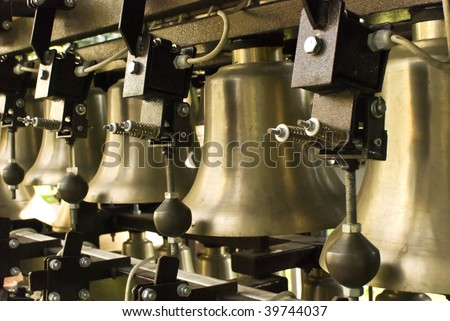 The hand bell on a white background