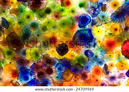 The Hand Blown Glass Flower Ceiling at the Bellagio Hotel