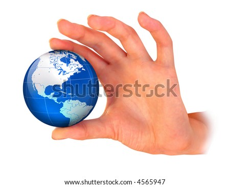 The hand compressing earth planet isolated over white background with clipping path