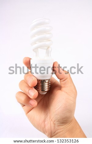 The hand holding the energy-saving lamp
