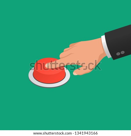 The hand in a suit presses the red button. Jpeg isometric illustration.