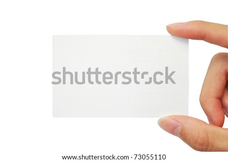 The hand is grasping the white empty name card