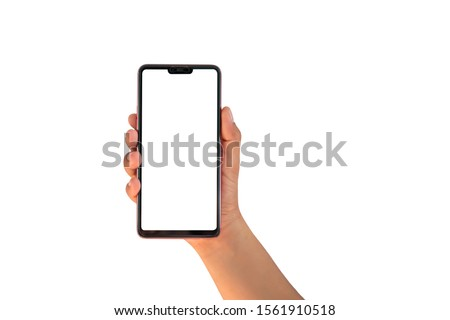 The hand is holding the white screen, the mobile phone is isolated on a white background with the clipping path.