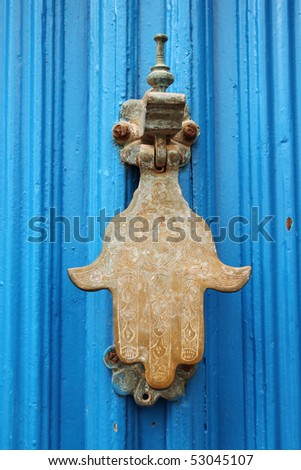 The Hand of Fatima door hammer, detail from the city of Essaouira, Morocco
