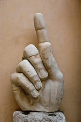 The hand of the colossal Constantine statue from ancient Rome, nowadays kept in the Capitoline museums.