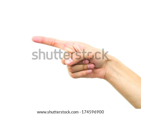 The hand of the man isolated on a white background.