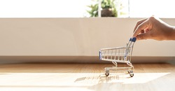 The hand of the person who is pushing the handcart model. Online shopping ideas banner background with copy space.