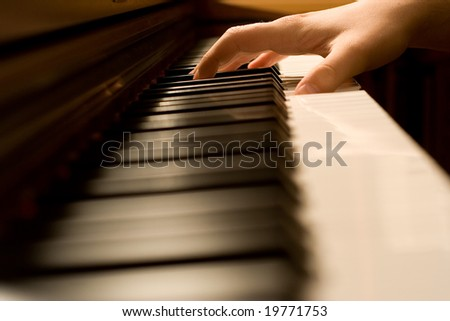The hand on piano keyboard