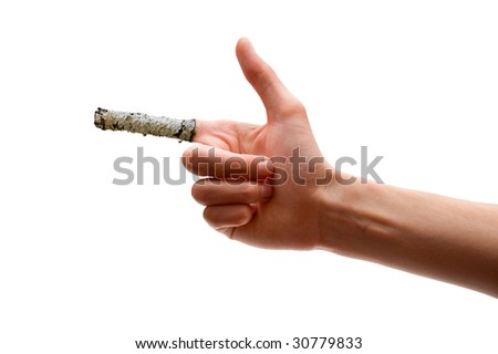 The hand on which to place your fingers from the ashes of cigarettes